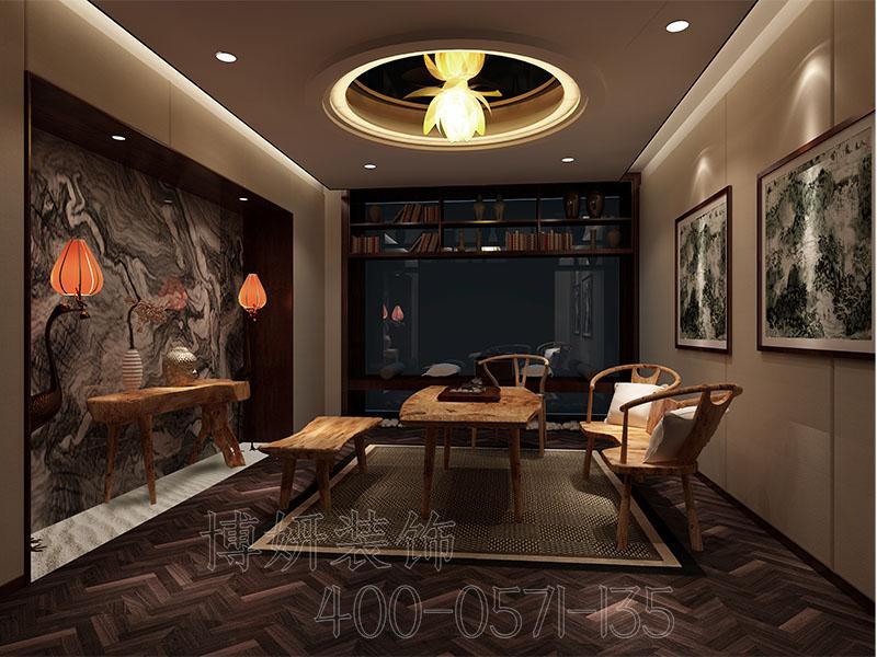 杭州中式茶馆茶叶店装修设计