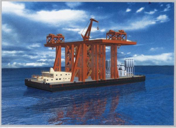 东海大桥墩身运架驳船